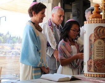 Pastel Silk Tallit   hand-made, one-of-a-kind, jewish prayer shawl, custom tallits for women & girls, tallit for bat mitzvah