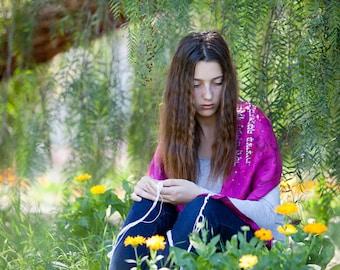 Fuchsia Silk Tallit  hand-made, one-of-a-kind, jewish prayer shawl, custom tallits for women & girls, tallit for bat mitzvah