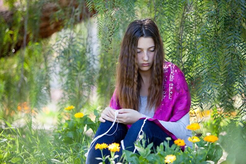 Fuchsia Silk Tallit  hand-made one-of-a-kind jewish prayer image 0