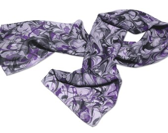 Silk scarf Womens Fashion purple white black hand marbled silk scarf Purple Ribbon