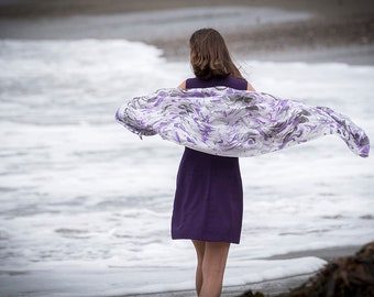 Purple ribbon Silk Tallit  | hand-made, one-of-a-kind, jewish prayer shawl, custom tallits for women & girls, tallit for bat mitzvah