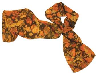 Silk Scarf Womens Hand Marbled Silk Scarf Orange Bliss Bubble