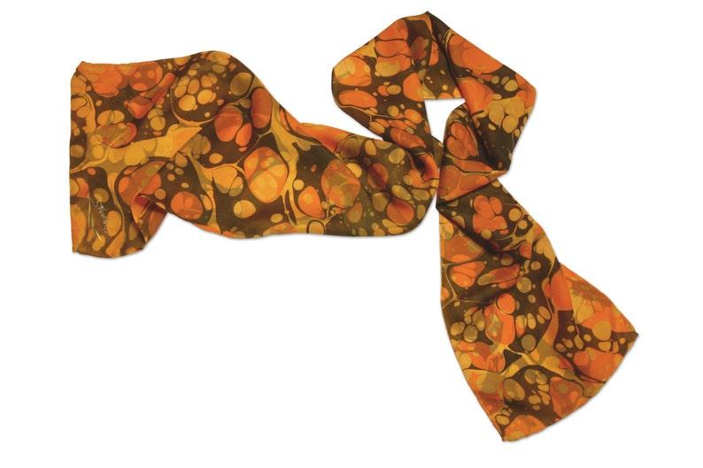 Silk Scarf Womens Hand Marbled Silk Scarf Orange Bliss Bubble image 0