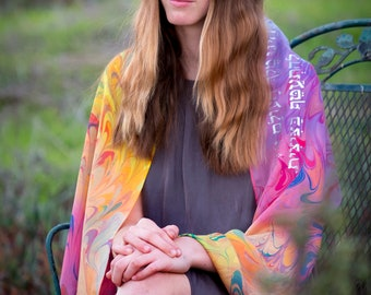 Rainbow Silk Tallit | hand-made, one-of-a-kind, jewish prayer shawl, custom tallits for women & girls, tallit for bat mitzvah