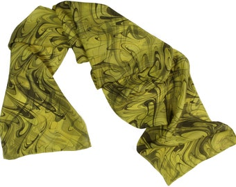Dyed Silk Scarf  Hand Marbled  yellow, gray and gold   Silk Scarf