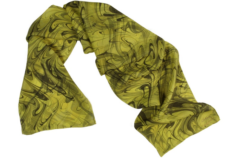 Dyed Silk Scarf  Hand Marbled  yellow gray and gold   Silk image 0