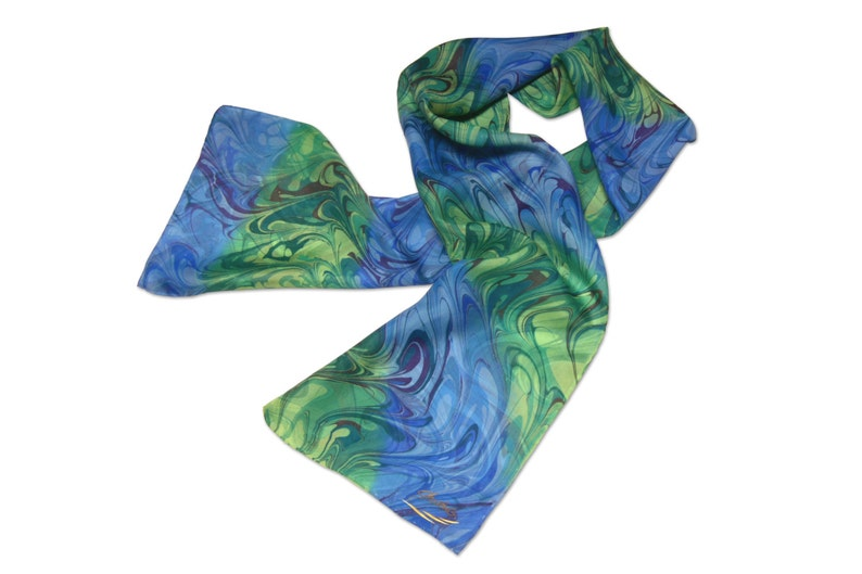 Womens Fashion blue and green marbled silk scarf Tide Winds image 0