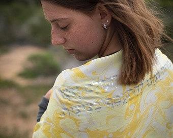 Yellow Love Silk Tallit  | hand-made, one-of-a-kind, jewish prayer shawl, custom tallits for women & girls, tallit for bat mitzvah