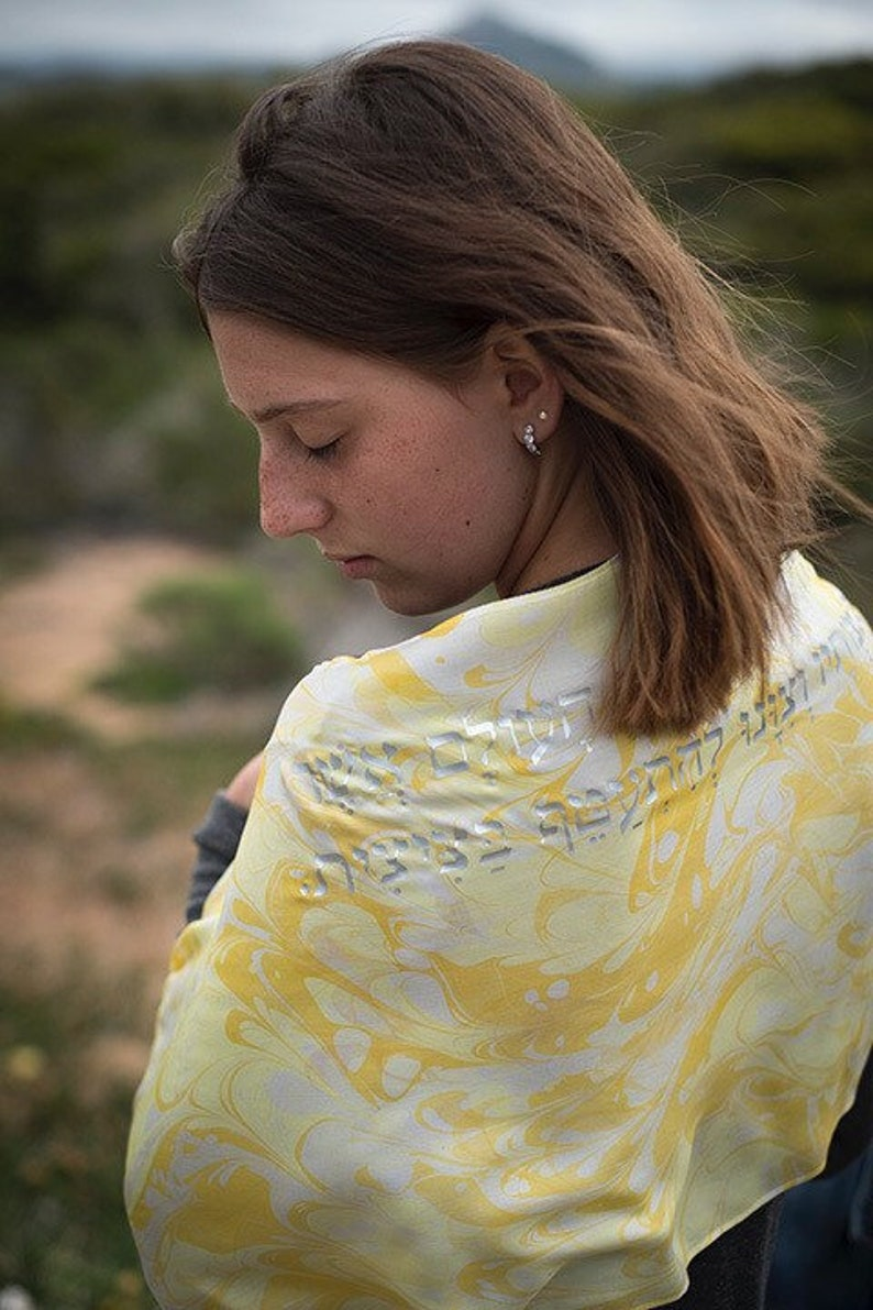 Yellow Love Silk Tallit   hand-made one-of-a-kind jewish image 0