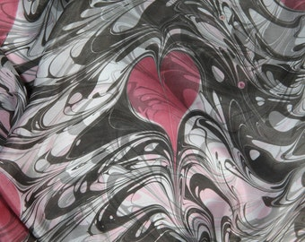 Valentine's Gift Pink hearts white and grey marbled - Only You