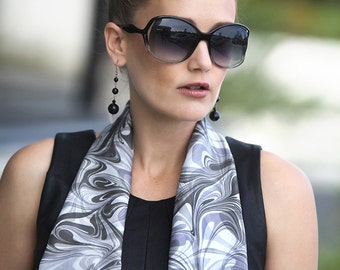 Silk Scarf Marbled Black and White Patterned Silk Scarf Smoke Dream Wave