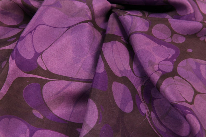 100% Silk Scarf Hand Marbled  Deep Purple Bubble image 0