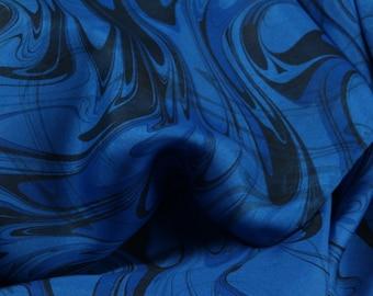 Silk Scarf Hand Marbled Silk Scarf Blue Treasure wave pattern
