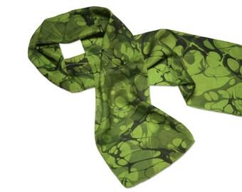 Silk scarf Womens Fashion green hand marbled silk scarf Lily pad