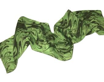 Silk scarf Womens Fashion green silk scarf Lily pad