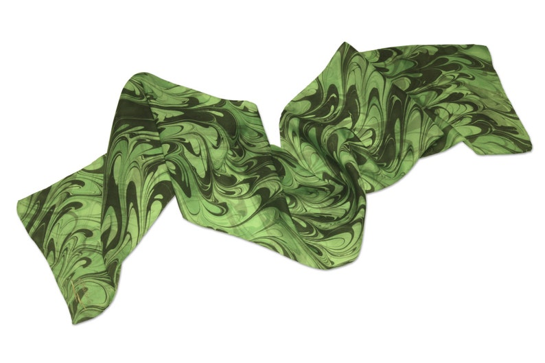 Silk scarf Womens Fashion green silk scarf Lily pad image 0