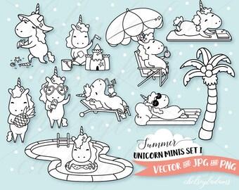Summer Digital Stamps, Planner Unicorn Digital Stamps Set, Digi Stamps, Chibi Vector Graphics, Cute Commercial Use Sticker Clipart, Kawaii