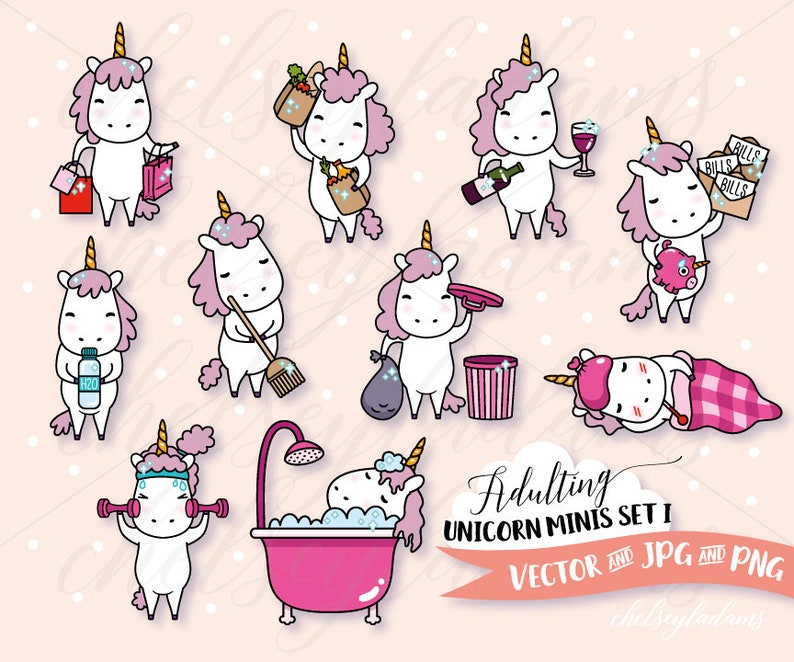 Kawaii Adulting Unicorn Clip Art Set Diy Planner Stickers Etsy