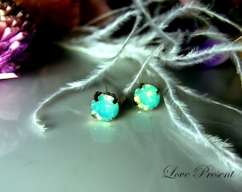 Swarovski Crystal Stud Typical Pierced Earrings - Bridesmaid Gift. Simple Modern Jewelry - Color Pacific Green Opal