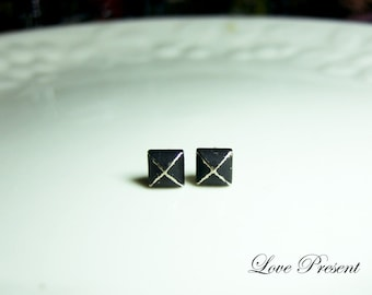 Rock N Roll and Punk  Pyramid earrings studs Post - Color Black Vintage Patina Verdigris