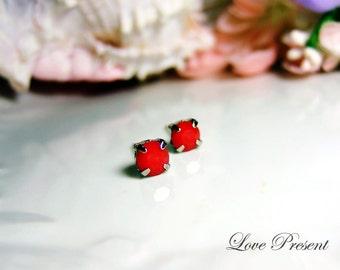 Swarovski Crystal Stud Typical Petite Pierced Earrings - Bridesmaid Gift. Simple Modern Jewelry - Color Dark Red Coral