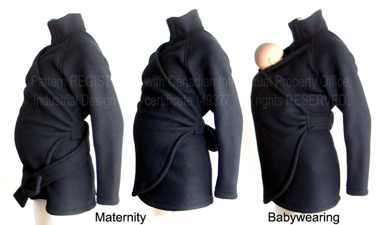 58ad107d0852 Maternity. Babywearing Jacket Vegan Coat Jacket. Baby Wearing