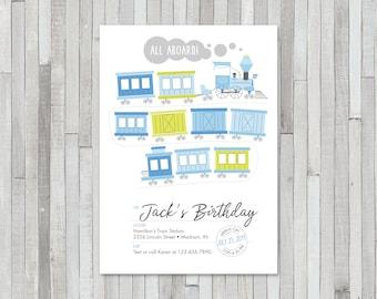 Boy / Girl Train Birthday Invitation