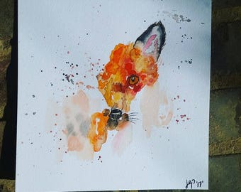 """Fox watercolor painting (8""""x8"""")"""