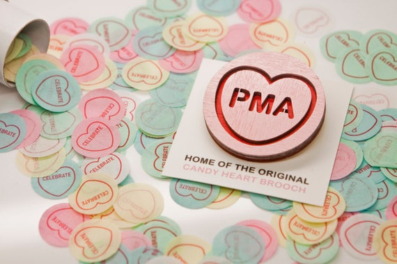 Pma Candy Heart Brooch Anniversary Gifts For Her Birthday Etsy