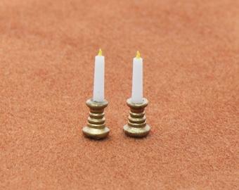 1:48 Set of Brass Candle Sticks Kit Brand New!
