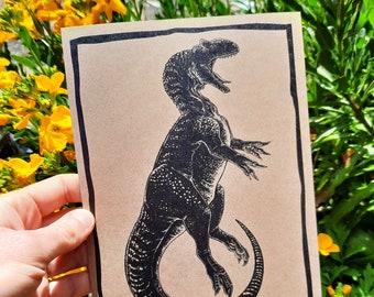 Allosaurus Illustration - Jurassic Dinosaur Paleoart Print - Natural History Art - Paleontology Gift Ideas