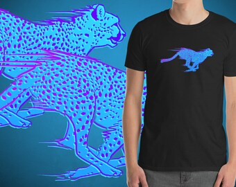 a750ea35d50 OUTRUN CHEETAH T-Shirt - Eighties Inspired Blue Neon Cat Unisex Short  Sleeve Black Graphic Tee - 1980s Aesthetic Vaporwave Streetwear
