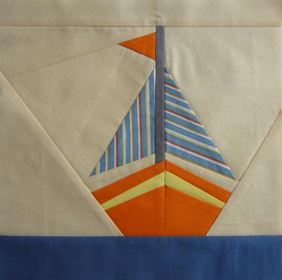 Segelboot quilt Muster Papier genäht Block Meer-Quilt-Block | Etsy