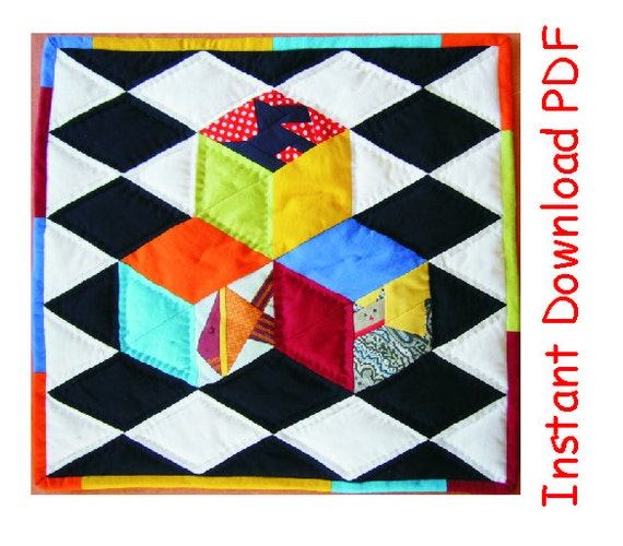 3d Paper Pieced Quilt Pattern Kids Cubes On Chessboard Etsy