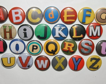 Alphabet Letters A-Z Button badge 25mm / 1 inch Letter Pin Graffiti Sign