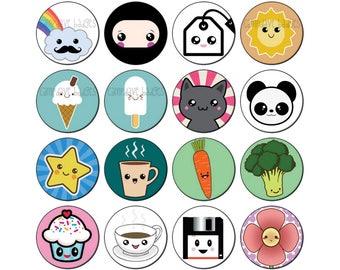 Kawaii Cute (Various Designs) Badge 25mm / 1 inch Anime