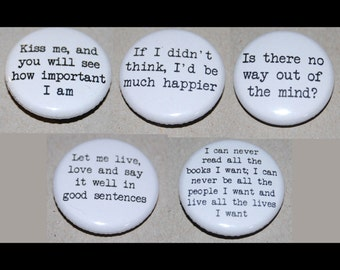 Sylvia Plath Quotes Button Badge 25mm / 1 inch The Bell Jar