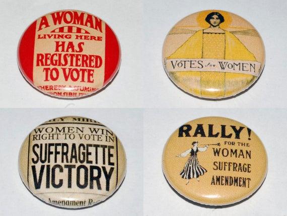 Suffragette Images Button Badge Set 25mm 1 Inch Feminist Etsy