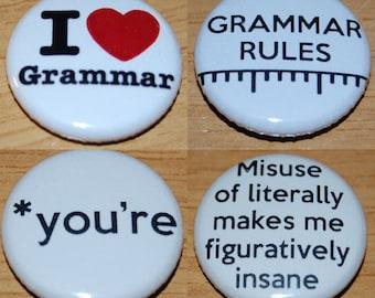 Grammar Button Badge 25mm / 1 inch Spelling Geek Nerd