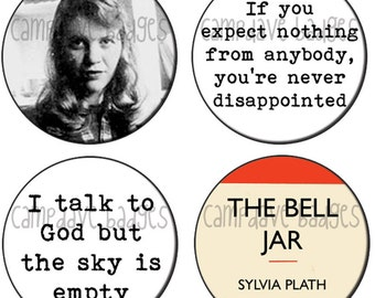 Sylvia Plath Button Badge 25mm / 1 inch The Bell Jar