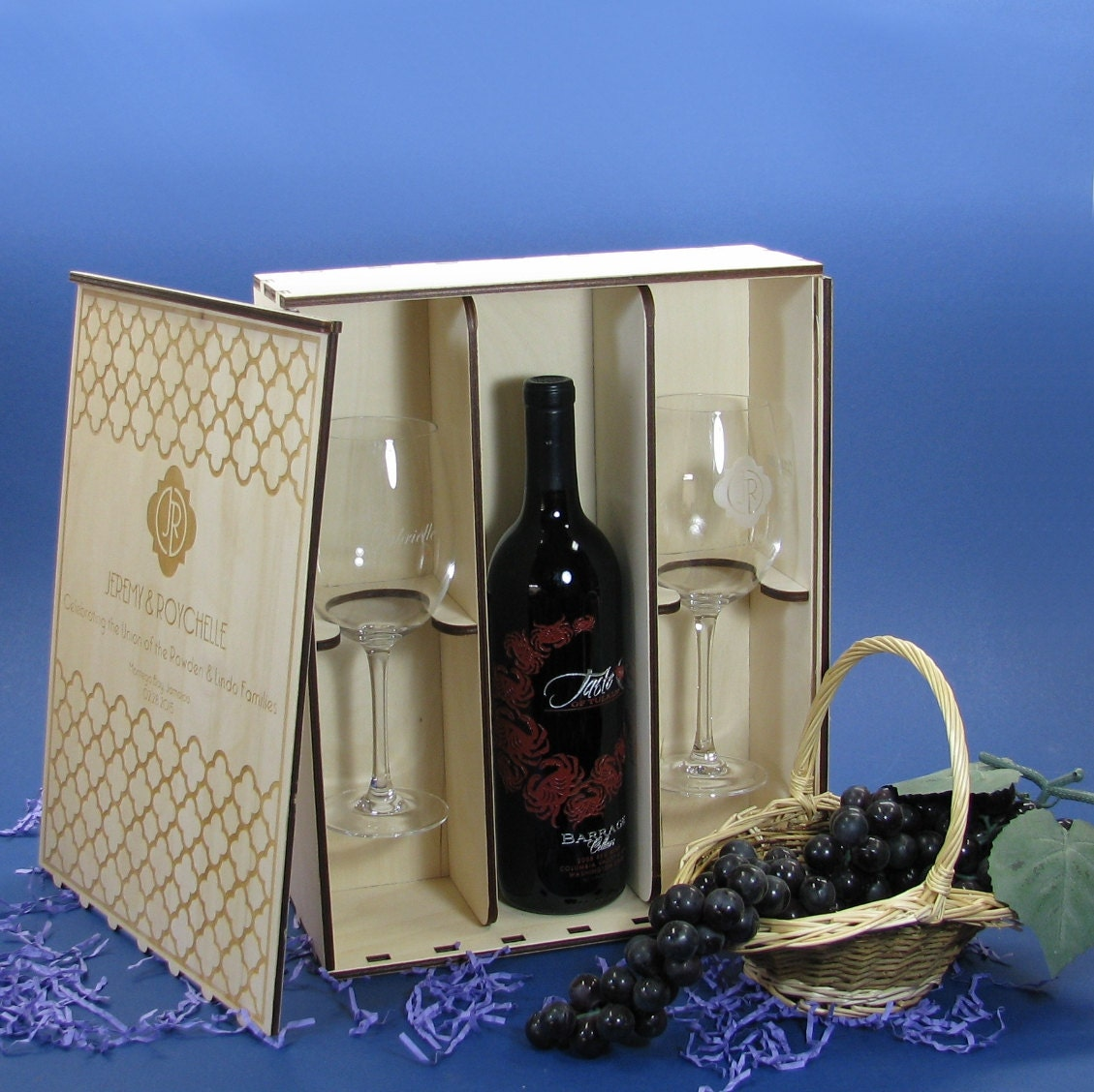 Wood Wine Gift Box Set With 2 Crystal Wine Glasses Personalized By