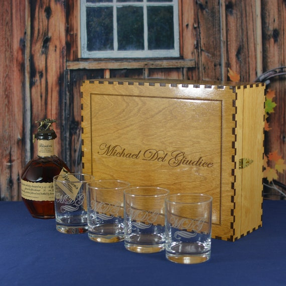 Personalized Whiskey Spirits Liquor Box with 4 Custom Etched Glasses