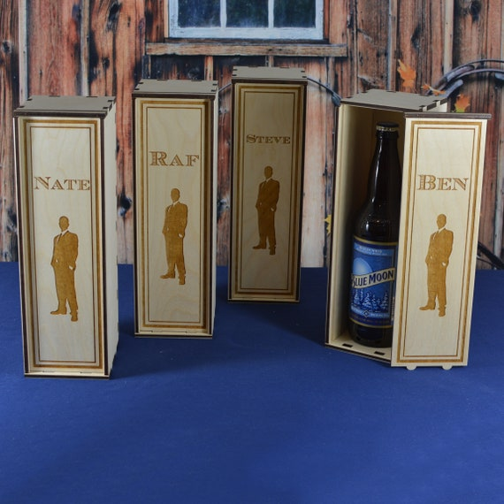 Personalized Wood Single Premium Bottle Beer Gift Box