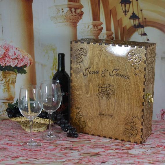 Wedding Ceremony Wood Wine Box Set with Padlock & Keys and 2 Personalized Crystal Wine Glasses