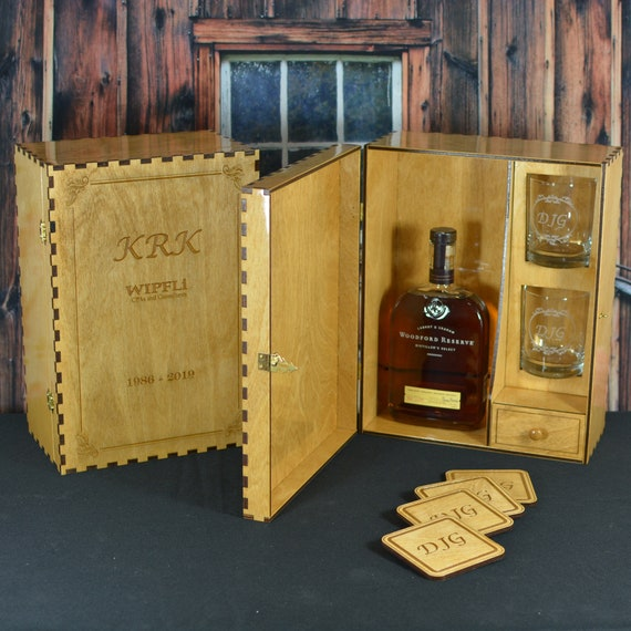 Personalized Liquor Spirits Box Gift Set with 2 Custom Etched Glasses and 4 Coasters