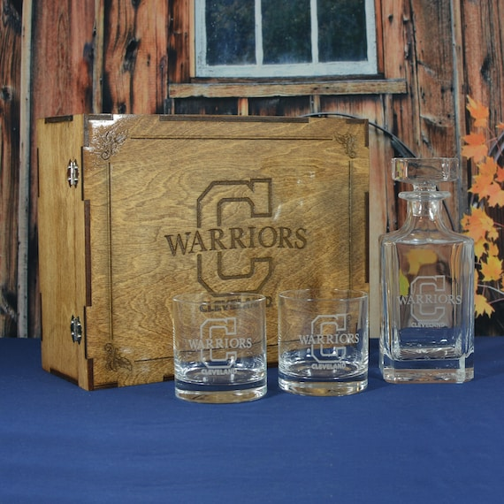 Personalized Whiskey Box with Decanter and 2 Crystal Rocks Glasses