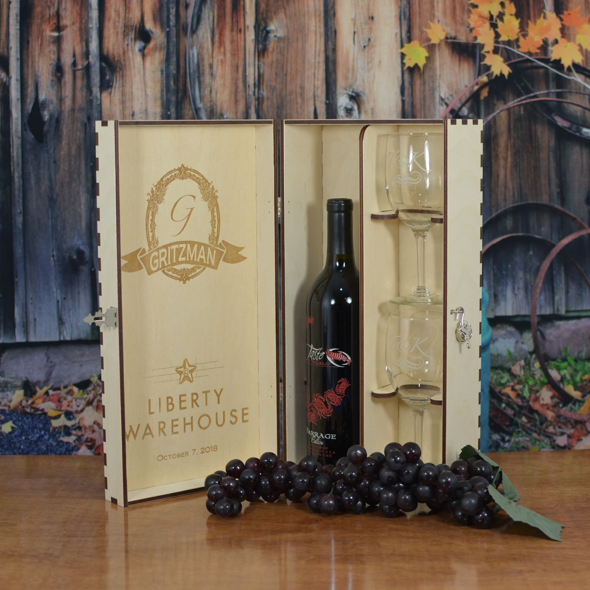 Personalized Wood Wine Gift Box With 2 Personalized Etched Wine