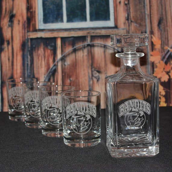 Personalized Glass Decanter with Double Old Fashion Glasses