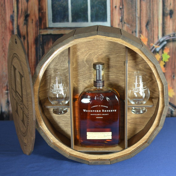 Spirits Gift Barrel with 2 Glencairn Crystal Whiskey Glasses or 2 or 4 Personalized Shot Glasses