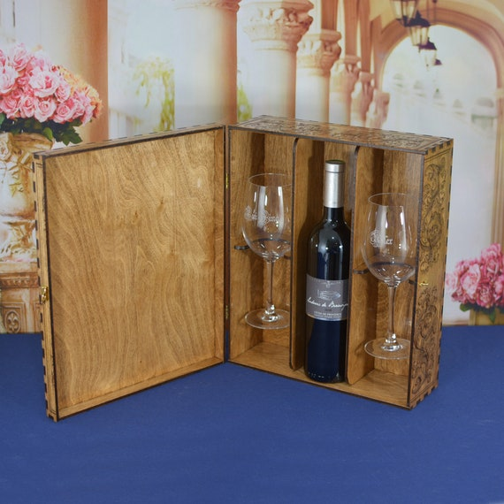 Wedding Ceremony Wood Wine Box Set with Padlock & Keys and 2 Personalized Crystal Wine Glasses